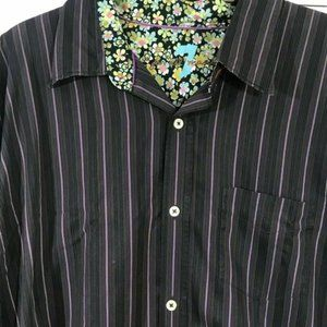 7 For All Mankind Dark Purple Striped Shirt